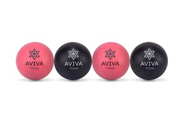 Trigger Point Release w/ AVIVA YOGA Set of 4 Rubber Massage Balls 2 Firm... - $15.83