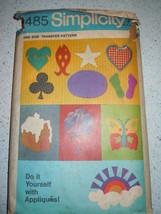 Vintage 1971 Simplicity Do It Yourself Appliques Pattern #9485 Uncut - $4.99