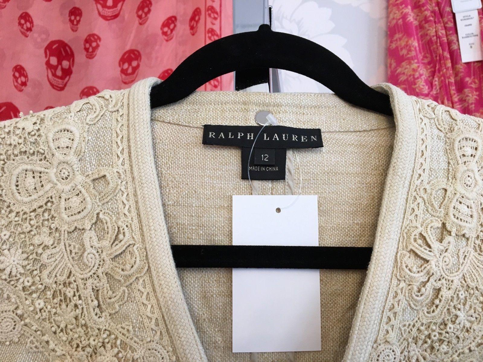 RALPH LAUREN Black Label Tan Linen Jacket Sz 12 $1000