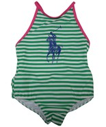 Ralph Lauren Infant Girl's Big Pony Swimsuit Green Striped, 12 Months - $45.54