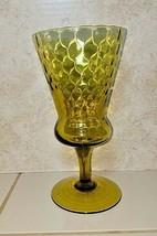 Vintage Retro 1960's 70's Olive Avocado Green Glass Vase Compote - $8.86