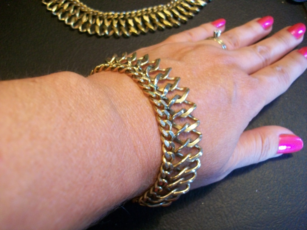 You Know You Want It! Bartek Gold Necklace & Bracelet Demi Parure - Chainmail
