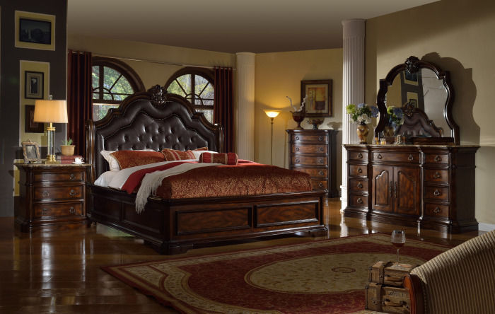 Mcferran RB6002 Tuscan Leather Queen Size Bedroom set 3.pc Traditional Style