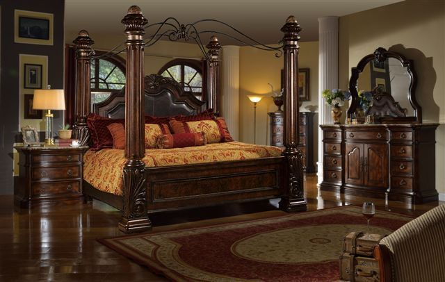 Mcferran RB6003 Tuscan Leather Eastern King Size Bedroom set 3.pc Traditional