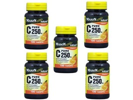 PACK 5 x 100 = 500 TABLETS PURE Vitamin C 250 mg Calcium Ascorbate Ascor... - $24.45