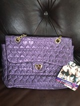 Justin Bieber GIRLFRIEND PURSE purple/heart quilted satchel gold-plate c... - $34.64