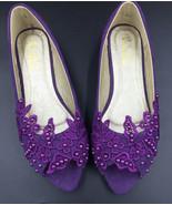 Women Purple Peep toe Lace Wedding/Bridal Ballet Flats Shoes Size 4,5,6,... - £30.95 GBP