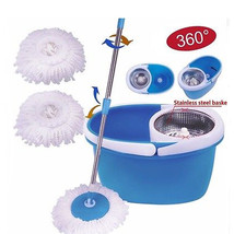 NEW!! Easy Magic Rotating Floor Mop Stainless Steel Dehydrate Basket Spi... - $36.51