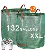 2-Pack 132 Gallons Gardening Bag With Gloves Extra Large Reuseable Heavy... - $25.15
