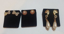 3 Pair Pierre cardin Earrings designer collection - $84.27