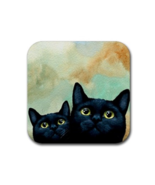 Rubber coasters set of 4, black Cat 607 Home decor art painting by L.Dumas - $13.99