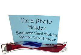 Snazzy Glass Red White and Blue Photo/Card Holder - $20.57