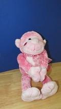 "The Petting Zoo plush 11"" pink monkey heart bow lip kiss print cheek - $6.99"