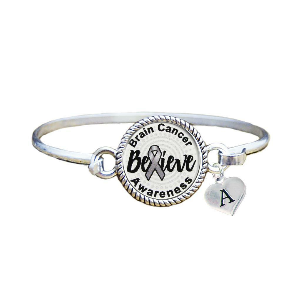 Primary image for Custom Brain Cancer Awareness Believe Silver Bracelet Jewelry Choose Initial