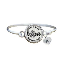 Custom Brain Cancer Awareness Believe Silver Bracelet Jewelry Choose Ini... - $13.80+