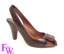 MAX STUDIO Size 7 Brown Leather Slingback Open ... - $31.50