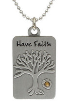 Mustard Seed Tree of Life Dog Tag Christian Necklace Pendant by Sterling... - $10.82