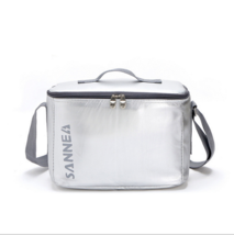 8.8L ice pack leather high-grade insulation lunch bag silver  - $12.99