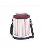 1.2L Environmental portable lunch bag striped cylindrical bag picnic  blue - $14.59 CAD