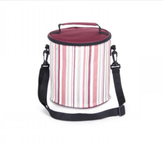 1.2L Environmental portable lunch bag striped cylindrical bag picnic  red - $10.99
