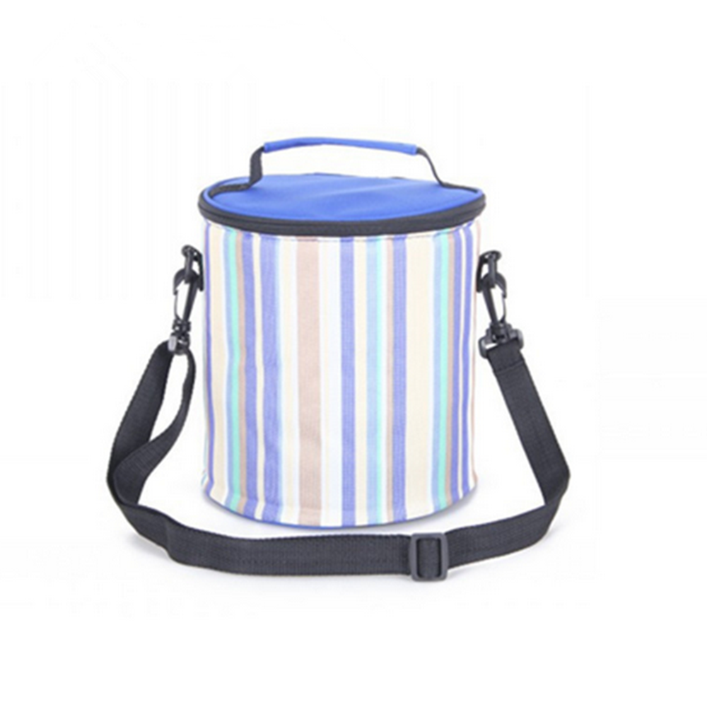 1.2L Environmental portable lunch bag striped cylindrical bag picnic  blue