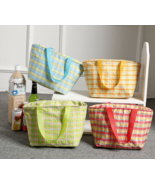8L plaid insulation bags lunch bag lunch bag hand bag green - $9.99