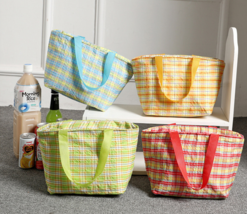 8L plaid insulation bags lunch bag lunch bag hand bag yellow - $9.99