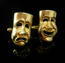Ghostly Faces Vintage Cufflinks Shields COMEDY TRAGEDY Drama Theater Masks Shirt - $75.00