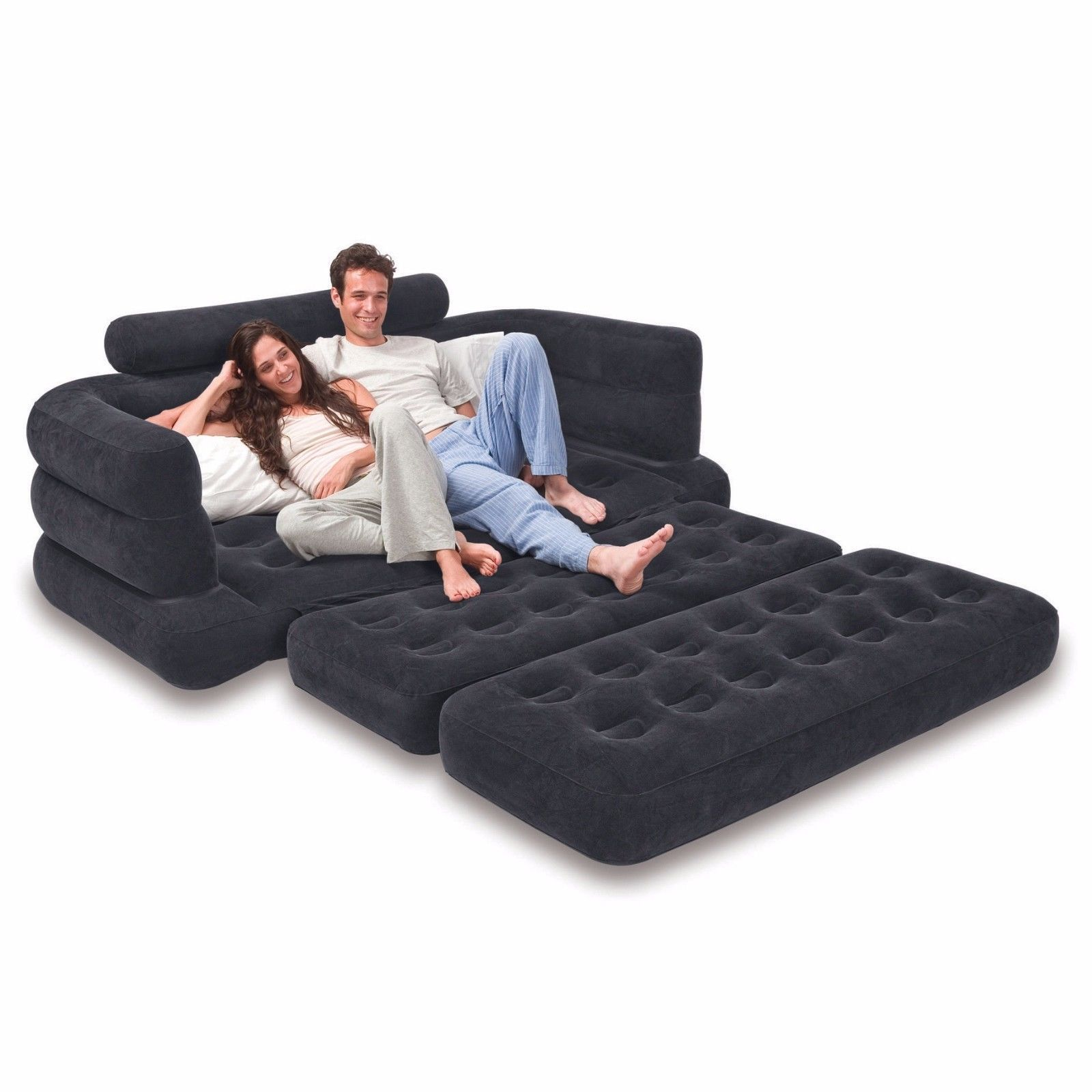 Inflatable Couch Sofa Pull Out Bed Mattress Camping Travel Beach Guest Airbed Inflatable