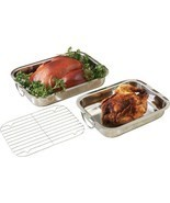 3 piece Stainless Steel Chicken Turkey Roasting Baking Cooking Rack Cook... - £62.11 GBP