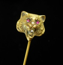 Antique gold Lion STICKPIN ruby Jeweled Eyes paste rhinestone Mouth Fine... - $265.00