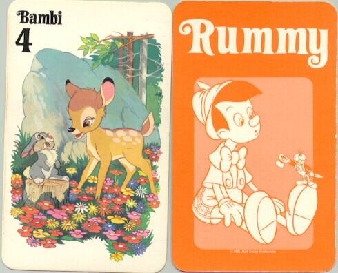 Disney Bambi & Thumper Rummy Card dated 1981 WDP rare