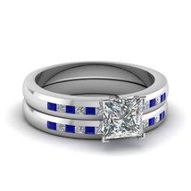 1.15 Ct Round CZ & Blue Sapphire Dainty Lattice Wedding Rings Set White ... - $99.99