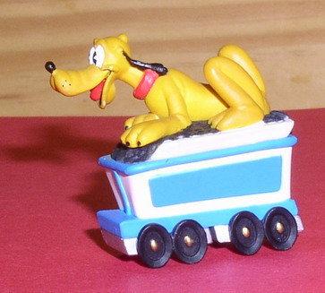 Disney Pluto Mickey's Dog Train ridder Rare figurine