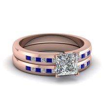 1.15 Ct Round CZ & Blue Sapphire Dainty Lattice Wedding Rings Set Rose Gold Fn - $99.99