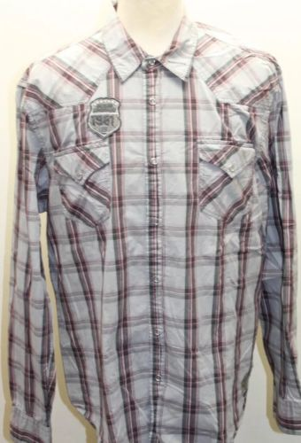 0afa359017 12. 12. Previous. Guess XXL Men Cowboy Gray Plaid Patch Pearl Snap Eagle  Cotton Embroidered Shirt