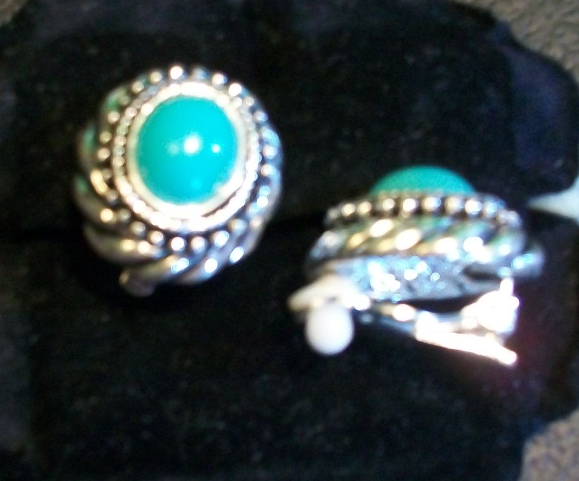 Avon Faux Turquoise and Antiqued Silver-tone Clip-on Earrings