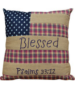G05413-Pillow Patriotic Patch BLessed Psalms 33:12  ...... Primitive pi... - $9.95