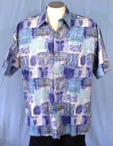 Cooke Street XL Button Down Hawaiian Shirt Geometric Blue Green Purple - $25.00