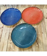 Fortessa Blue Teal Red Melamine  Round Salad Plate Set of Three 7.75 In - $27.49