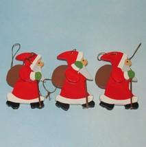 Vtg SANTA CLAUS Wood Germany Ornaments Set 3 pc... - $16.00
