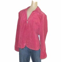 Pink Leather Coat Blazer Jacket Lined by Live a Little Zip Lined Size LARGE - $34.00