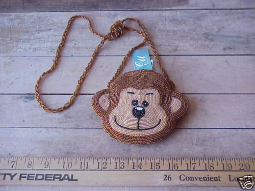 Primary image for MONKEY CHIMP Hand Beaded Evening Bag Purse Chimpanzee Ape