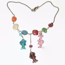 "Glass FISH Ocean 20"" theme Hand made Statement Necklace 9 beads Beach Va... - $32.00"