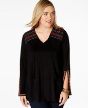 *NEW American Rag Cie Black Embroidered Pleasant Blouse Tassels Plus 0X $60 - $13.45