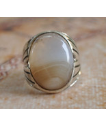 Silver agate aqeeq Men Ring-Middle Eastern-yeme... - $48.51
