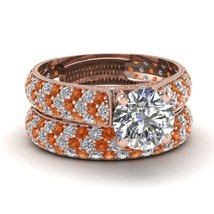 2.60 Ct Round White & Orange Sapphire Eternity Engagement Ring Set Rose Gold Fn - $139.99