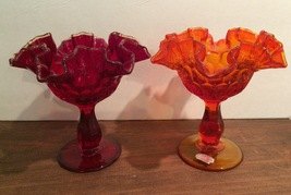2 Fenton Glass Silver Crest Footed Vases - $21.00
