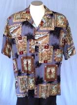 Hilo Hattie Large Hawaiian Shirt Framed Scenes Leaves - $25.00