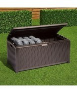 Storage Deck Box Outdoor Patio Pool Backyard Garden Furniture Bench Wick... - £144.01 GBP